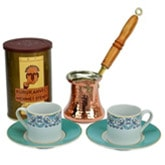 Turkish Coffee Set for Two with Mehmet Efendi coffee - Turquoise