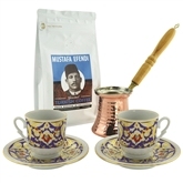 Turkish Coffee Set for Two with Mustafa Efendi Gourmet Turkish Coffee - Blue & Gold