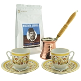 Turkish Coffee Set for Two with Mustafa Efendi Gourmet Turkish Coffee - Carnation