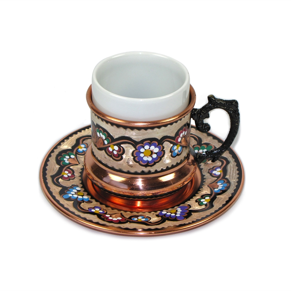 Turkish Coffee Set For Two Double Size 6 Oz Hand Made