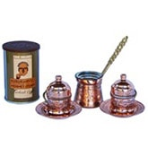 Turkish Coffee Set for 2 with Mehmet Efendi coffee - Copper