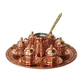 Turkish Coffee Set for Six with Lids and Tray