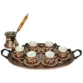 Turkish Coffee Set for Six with Oval Tray