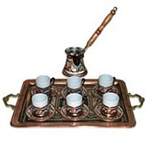 Turkish Coffee Set for Six - Rectangle Tray