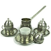 Turkish Coffee Set for 3 with Grape Designs
