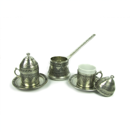 Turkish Coffee Set for 2 with Grape Designs