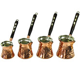 Set of 4 Engraved Turkish Coffee Makers - Copper