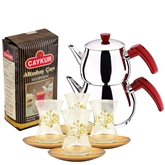 Turkish Tea Set with 4 Glasses - Gold