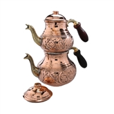 Engraved Turkish Tea Pot - Natural Copper