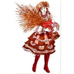 A plentiful crop for the coming New Year is the hope of many farm folk as they place beribboned sheaves of wheat in the corners of the rooms in their cottages on Christmas Eve.  The Polish girl on this card is dressed in the colorful folk costume from the