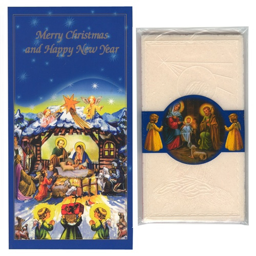 Polish Art Center Christmas Card With 4 Oplatek Wafers