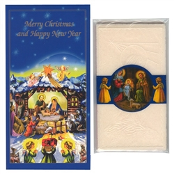 "Nativity Christmas card filled with a packet of oplatki wafers. These cards all feature the Nativity scene and a ""Merry Christmas and Happy New Year"" greeting in English.  Inside greeting ""...A Blessed Christmas with Love, Peace and Happiness in the New Y"