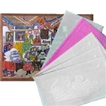 Authentic, traditional, historic, Christmas wafers from Poland. 5 wafers (4 white and 1 pink) in this beautiful envelope featuring the painting of the Wigilia feast.  Each wafer is embossed (pressed) with a Nativity scene.