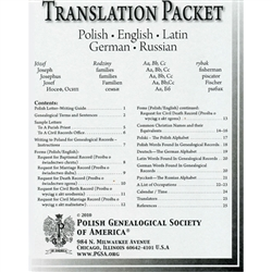 Contains: - Polish genealogical letter writing guide - Polish, German, Russian and Latin words used in genealogy - Calendar / time word list in Polish, German, Russian, and Latin - Five language Christian name cross-reference - List of translators