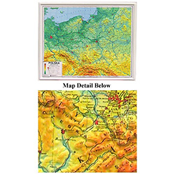 Poland Contoured Physical Wall Display Map