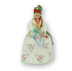 This traditional Polish Krakowianka Bride doll is completely hand made the old fashioned way with papier mache, dress materials and paints. This dolls opens from the bottom to reveal a hidden storage area perfect for rings or small keepsakes