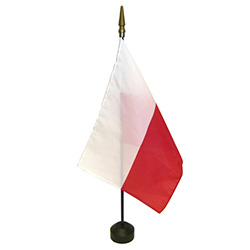 "Polish Flag On A Stick Without Eagle, Rayon, Size 8"" x 12"""