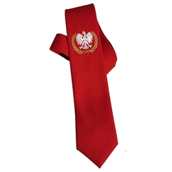 "There are times when you just have to wear a tie. If it's a Friday fish fry, or a night out at the Century Club, dress it up with an embroidered, crowned, Polish Eagle neck tie. 100% Polyester. Made In Poland. Size approx 60"" x 3.5""."