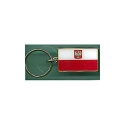 Polish Flag - Metal with gold trim & ring Key Chain