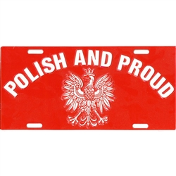 Polish Eagle License Plate made of corrosion resistant aluminum.  Standard US plate size with four slots for fastening.