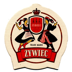 Zywiec is one of Poland's best known beers, named after the town in southern Poland where it is brewed.  These attractive two sided coasters sport the brand logo, two dancers in traditional Polish costumes.