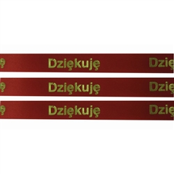 'Dziekuje' Ribbon: Red with Metallic Gold Letters.  English translation:  Thank You ribbon by the yard for making your next gift more interesting and unique!  Also use as embellishments on Scrapbooking pages!