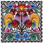 Our Polish paper cuts are made by folk artists in the Lowicz area of central Poland. Each paper cut-out is hand made using sheep sheers to form the designs. The designs from the Lowicz area are with rooster, flower or geometric motifs. We offer some of ea