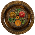 Polish Wooden Multi Floral Plate Dark Rim- 29cm - 11.5""