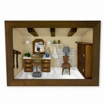 Poland has a long history of craftsmen working with wood in southern Poland. Their workshops produce beautiful hand made boxes, plates and carvings.  This shadow box is a look inside a traditional  Polish beauty salon.