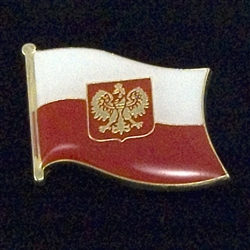Polish Flag Pin With Eagle - Magnet