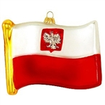 Polish Flag With Eagle Glass Ornament
