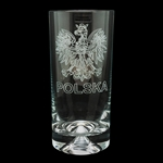 Beautifully engraved Polish Eagle and the word Polska on this tall drinking glass which features a solid heavy bottom for a great feel and stability. Made in Krosno, Poland, the center of Polish fine glassware.