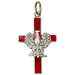 Made in the workshop of Warsaw's finest engraver and medal maker. This is a hand made enameled metal cross with the Polish eagle superimposed on top. These are the two symbols of Poland's Catholic heritage. Red is symbolic of the blood that was shed for t