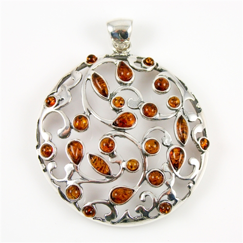 artisan natural home jewels amber garnet silver sterling pendant gemstone