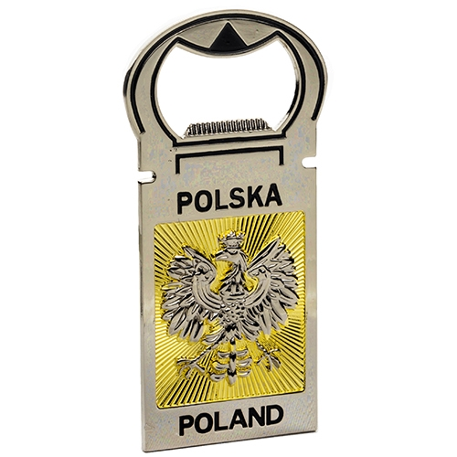 high quality bottle opener with polish eagle and gold rays the back of the opener - Magnetic Bottle Opener