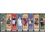 Bookmark - Bookmark - Set of 8 Polish Dancer Bookmarks are painted on canvas with the edges tastefully fringed.