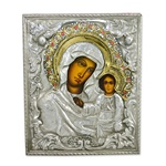 "Historical reproduction zinc plated copper.  8.5"" X 10.25"" Icon of Our Lady Of Kazan which is surely the most important icon in Russia. Our hand made and painted icons are produced in Lodz, Poland."