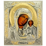 "Zinc plated over copper Icon of Our Lady Of Kazan Icon with a row of enameled color in the halo of Our Lady who is surely the most important icon in Russia.  This 10"" x 12"" icon was made in Lodz, Poland."