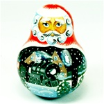 Medium Russian Matrushka (Nevalyashka) Christmas Santa Musical Bell - (Roly-poly)