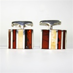 Men's Amber Cuff Links - Multi-Stone