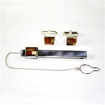 Men's Amber Cuff Links and Tie Bar Set - Geometric Pattern