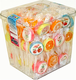 Wonderful assortment of fruit and flower-design fruit flavored lollipops, each individually wrapped, in a plastic display container. Total count: 100 pcs at 10g each.