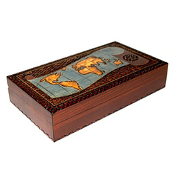 Old World Map Rectangular Wooden Box