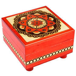 Secret Opening Geometric Circle Pattern Square Wooden Box