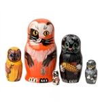 Alley Cats Matrushka Nesting Doll Set of 5