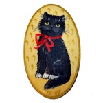 Lacquerware Black Cat Broach