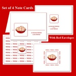 Delightful set of four note card, showing a bowl of Polish Pierogi on a white background.  Blank inside so you may customize your message.  Use this for any occasion.  Includes four red envelopes.  Premium archival card stock, Made in USA