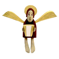 Small brown folk angel with accordion, hand-carved and painted by carver Maciej Manowiecki.  The artist is known for his unique, whimsical style.  His work can be characterized by the use of unconfined form, vibrant color, and lightness of style which bri