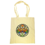 Shoulder tote bag in 100% beige cotton which features a beautiful Wycinanka (Polish paper cut-out) peacock & floral design. Picture appears whiter.