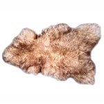Natural Sheepskin Throw - Mixed Brown and Light Beige